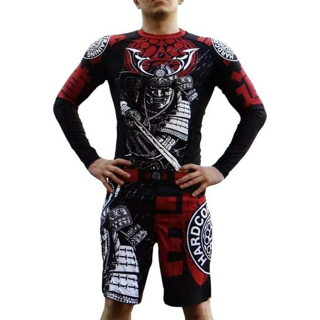 Hardcore Training Rash Guard for Men Budo Fitness No-Gi Gym MMA Crossfit Long Sleeve