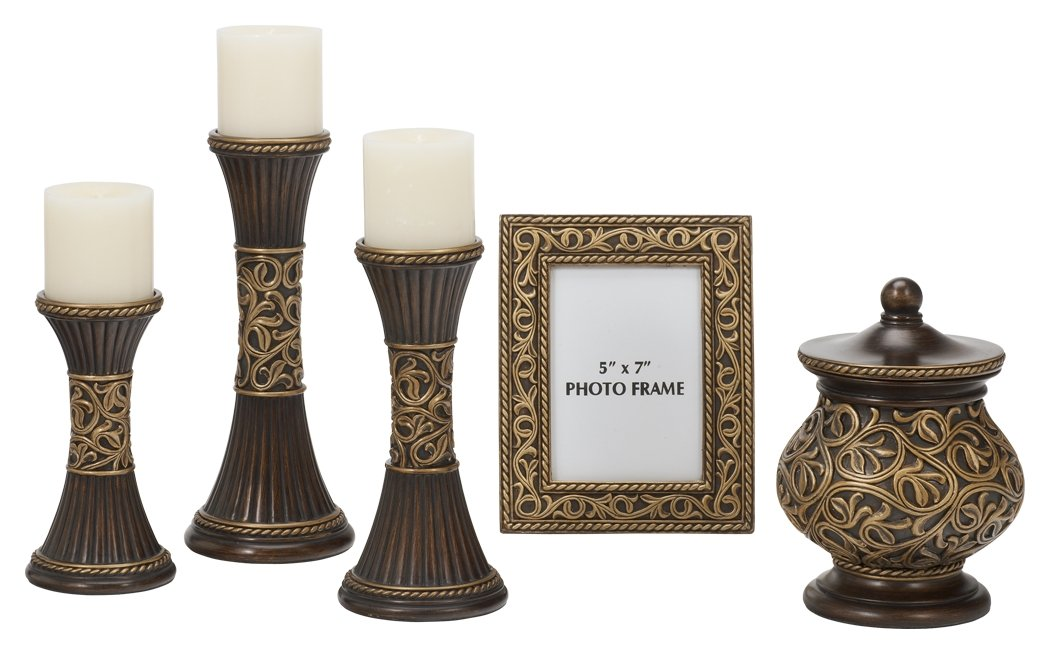 Ashley Furniture Signature Design - Mariana Accessory Set - Set of 5 - Contemporary - Bronze and Gold
