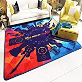 Ustide Fashion Design Music World Rug Square Rug Non-skid Living Room/Bedroom Carpet 31.5x31.5 inch