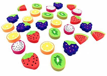 72e9757f08b4d5 Image Unavailable. Image not available for. Color: 60pcs Rubber Eraser Cute  Fruits Styling Pencil Eraser for Children Study Supplies