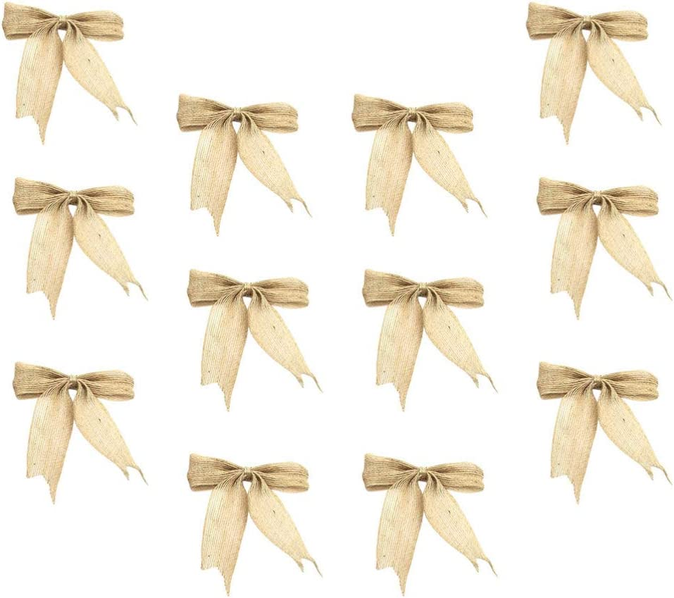 WINOMO Christmas Burlap Bows Ornaments Xmas Tree Bowknot Decoration Rustic Burlap Bowknot for Wedding//Party Decoration Christmas Tree Toppers//Hangs DIY Craft Accessories 12PCS