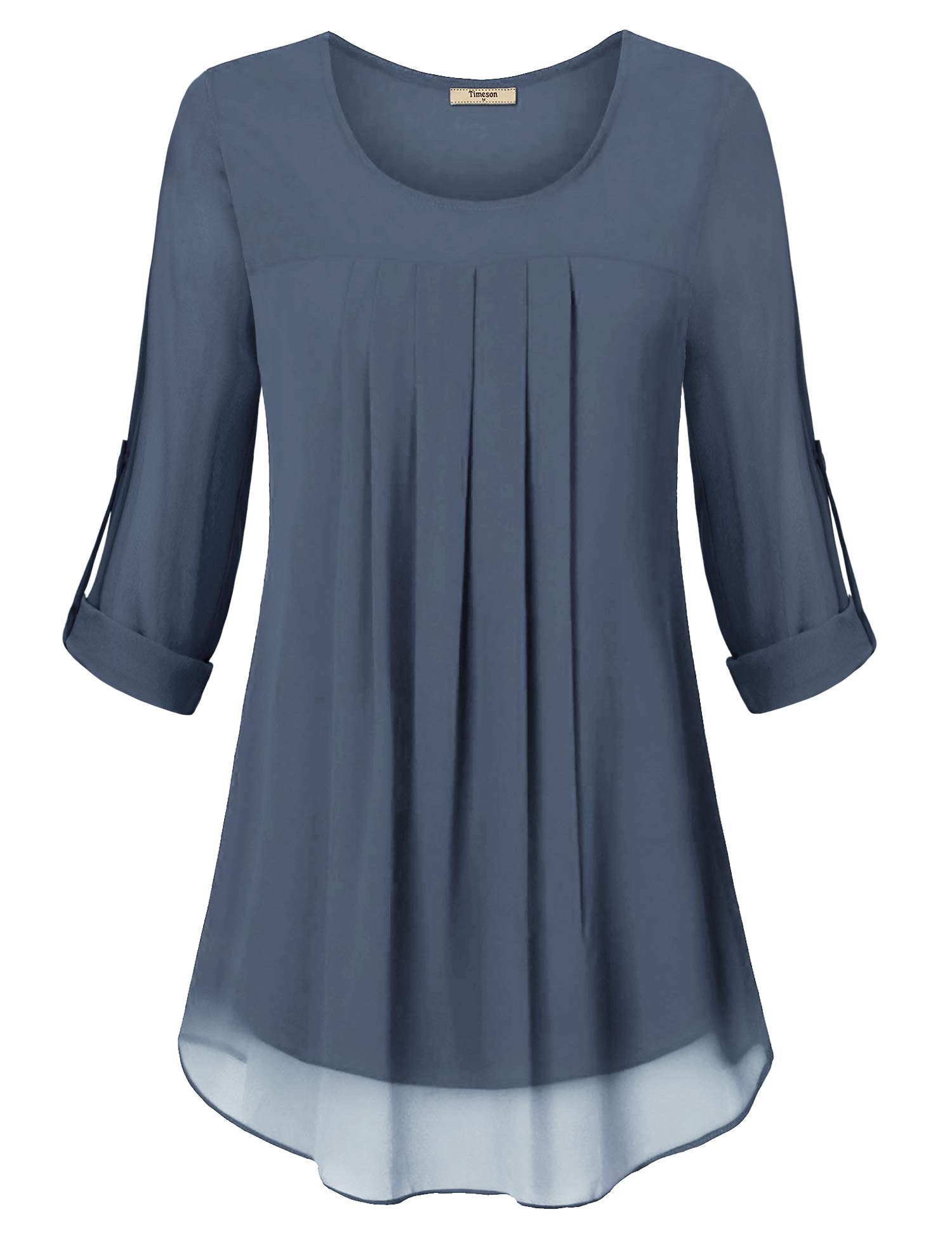Timeson Womens Flowy Blouses, Ladies Dressy Blouse Scoop Neck Pleated Top 3/4 Long Sleeve Dressy Tunics Chiffon Layers Swing Shirt Casual Fit Tee Tops for Business Work Wear Blue Gray XX-Large