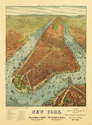 New York City, New York - (1879) - Panoramic Map (24x36 SIGNED Print Master Giclee Print w/ Certificate of Authenticity - Wall Decor Travel - Map York Soho New
