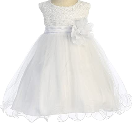 652d0d498dc Little Baby Girl Dress Stunning Sequin Tulle Infant Toddler Flower Girl  Dress White L (K31D5