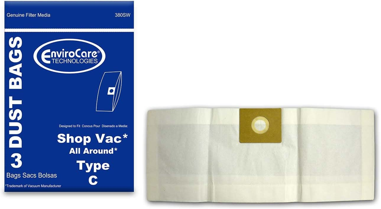EnviroCare Replacement Vacuum Cleaner Dust Bags Made to fit Shop Vac All Around Type C 3 Gallon. 3 Pack