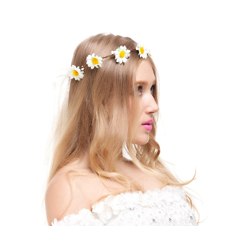 Amazon valdler little daisy flower headband crown with amazon valdler little daisy flower headband crown with adjustable ribbon for wedding festivals ivory clothing izmirmasajfo Gallery