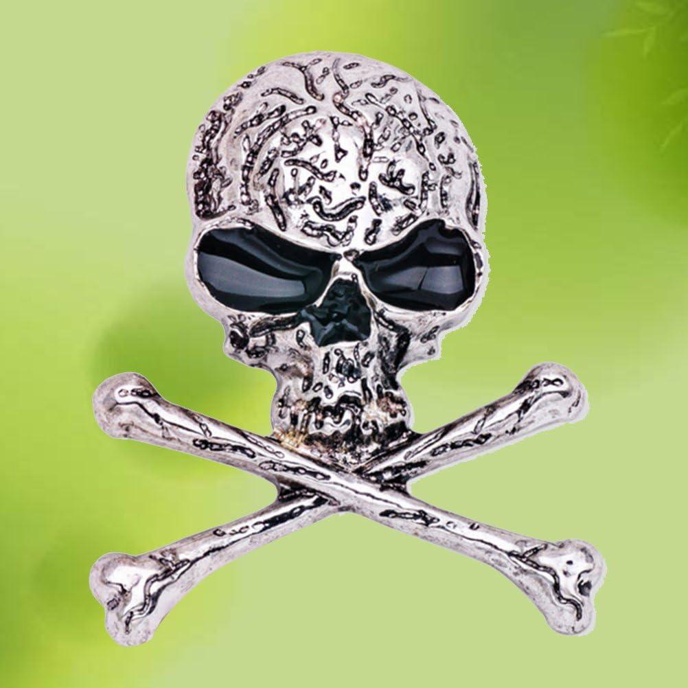 plata Broche de cr/áneo g/ótico punk Skeleton Breastpin para noche de compa/ñ/ía Disfraz Fenical