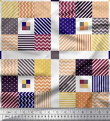 Soimoi Blue Crepe Silk Fabric Dot,Stripe & Chevron Color Block Print Fabric by Yard 42 Inch Wide