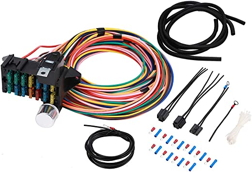 Amazon.com: 14 Circuit Fuse Universal Wiring Harness Kit for Hot Rod Street  Rod Rat XL Speedway Car Muscle Sand Simple Classic Car Truck Automotive  Basic 14 Circuit 14 Fuse Universal Wire HarnessAmazon.com