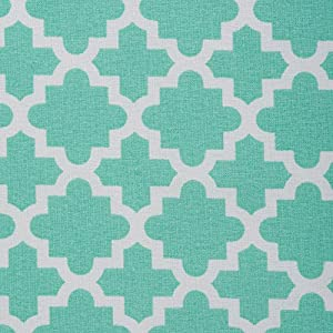 """DII Round Lattice Cotton Tablecloth for Weddings, Picnics, Spring Parties and Everyday Use - 70"""" Round, Aqua Blue and White"""