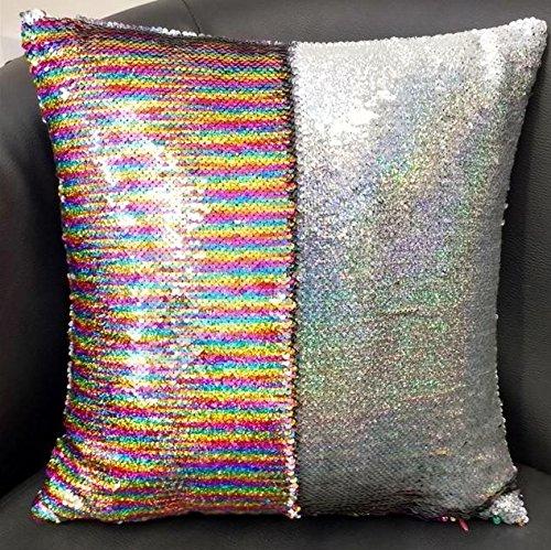 Arco iris mágico cojín de lentejuelas 16