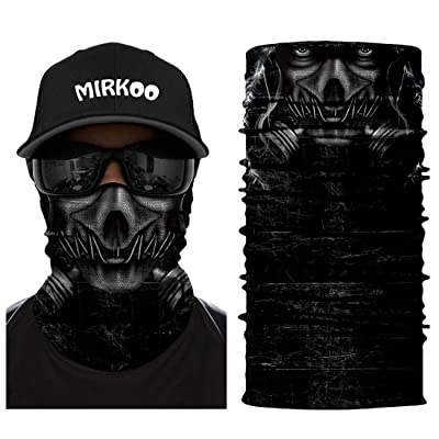 MIRKOO 3D Breathable Seamless Tube Face Mask, Dust-proof Windproof UV Protection Motorcycle Bicycle ATV Face Mask for Cycling Hiking Camping Climbing Fishing Hunting Motorcycling (Skull-765): Automotive