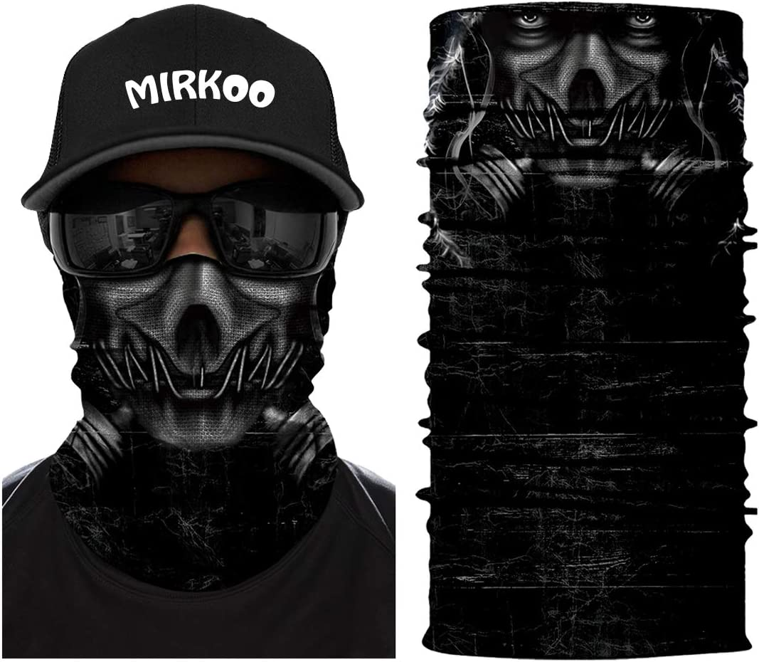 MIRKOO 3D Breathable Seamless Tube Face Mask, Dust-proof Windproof UV Protection Motorcycle Bicycle ATV Face Mask for Cycling Hiking Camping Climbing Fishing Hunting Motorcycling (Skull-765)