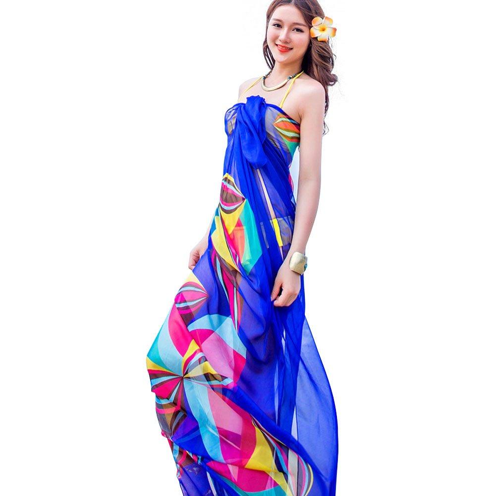 1747f88583 Topseller Sexy Womens Chiffon Bikini Summer Beach Swimwear Sarong Wrap Cover  Dress Scarf Pareo (Blue