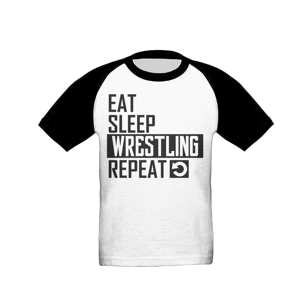 Sfspo Pp Raglan Kids (2-6 Years) Short Sleeves T Shirt Eat Sleep Wrestling Repeat Unisex by Sfspo Pp