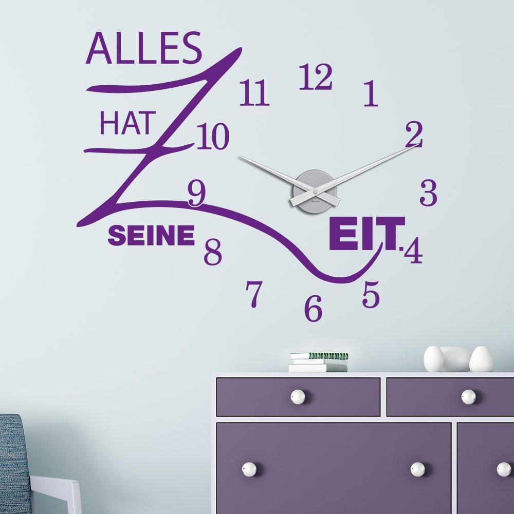 KLEBEHELD® Wandtattoo Uhr Alles hat seine Zeit mit Uhrwerk   Größe 68x55cm (B x H)   Uhr schwarz   Umlauf 44cm, Farbe lehmbraun B01M7RZI4E Wandtattoos & Wandbilder