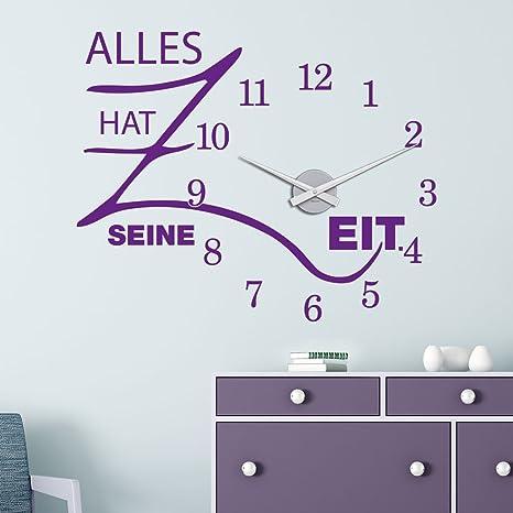 Klebeheld Wandtattoo Uhr Alles Hat Seine Zeit Mit Uhrwerk Grosse 68x55cm B X H Uhr Schwarz Umlauf 44cm Farbe Braun