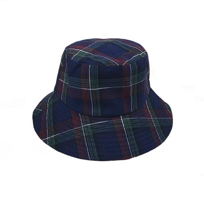 YueLian Plaid Bucket Hat Wide Brim Sun Cap (Blue) at Amazon Women s ... 37a8c1ef871