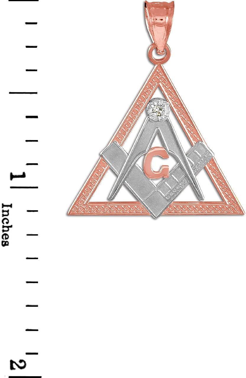 10k Two-Tone Rose Gold Triangle Freemason Diamond Masonic Pendant Necklace