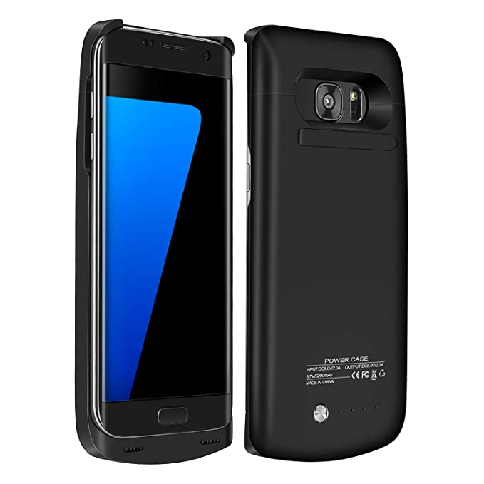 the latest 12152 c8d2c RUXELY Galaxy S7 Edge Battery Case, 5200mAh Portable External Backup  Charging Case,Rechargeable Power Charger Pack with Kickstand for Samsung  Galaxy ...