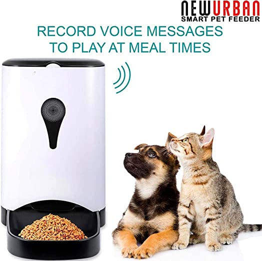 Automatic Pet Feeder App Control Smart iOS Android, Cat, Dog Food Dispenser with WiFi, HD Video Camera, Distribution Alarms, Portion Control, Voice Recording, Timer Programmable, 4.5 L