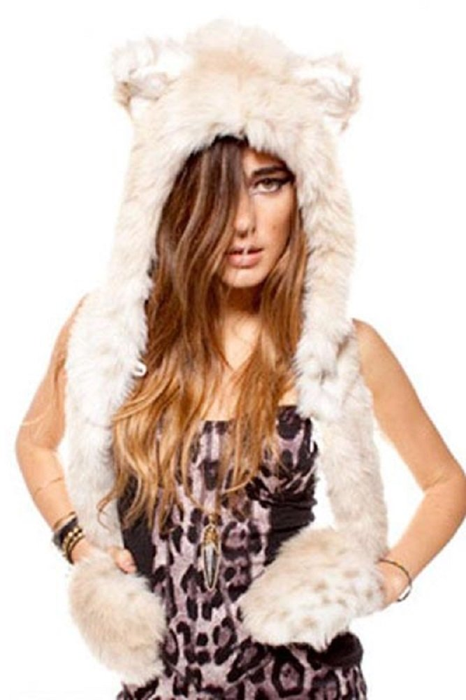 Mystiqueshapes Animal Thermal Hoodie Hood Faux FUR (Snow Leopard-Full) by Mystiqueshapes