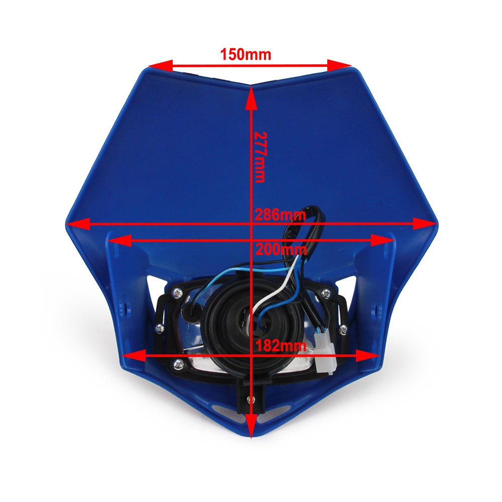 JFG RACING Blue H4 12V 35W Universal Modified Headlight Head