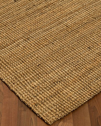 NaturalAreaRugs Calvin Collection Natural Jute Fiber Area Rug, Handmade, 100% Jute, Anti-Static, Durable, Stain Resistant, (8 Feet x 10 Feet) Beige + Bonus Rug Pad (Custom Jute Rug)