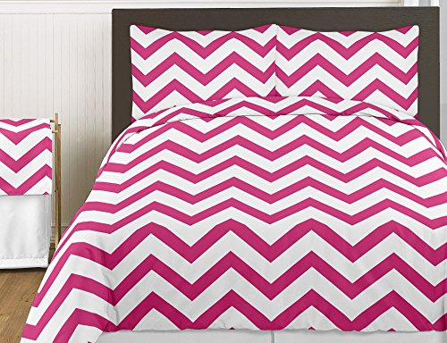 Sweet Jojo Designs 4-Piece Hot Pink and White Chevron Children's and Kids Zig Zag Twin Girl Bedding Set Collection