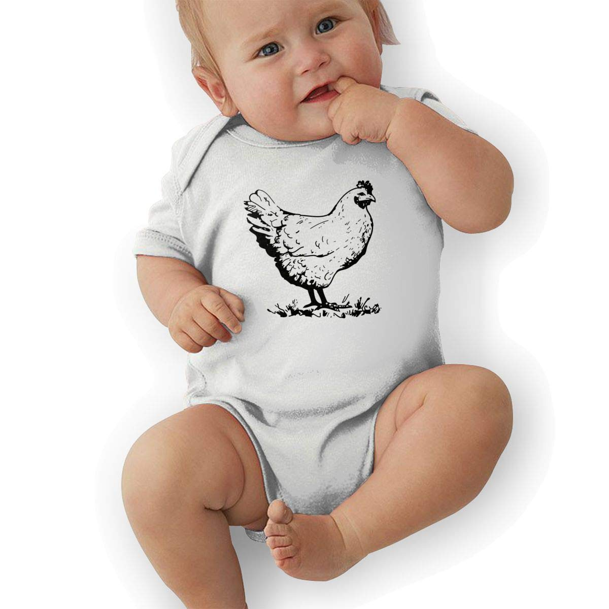 Toddler Baby Girls Bodysuit Short-Sleeve Onesie Funny Chicken Print Rompers Summer Pajamas
