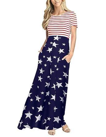 e3278fc2321 Amazon.com  MEROKEETY Women s Striped Short Sleeve Floral Print Summer High  Waist Pockets Maxi Dress  Clothing