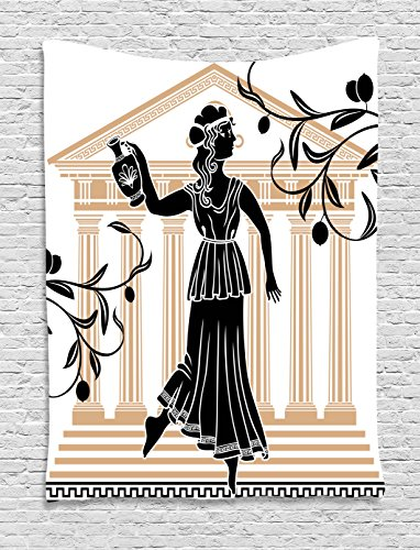 Ambesonne Toga Party Tapestry, Greek Woman Amphora Temple Olive Branches Culture Folk Pattern, Wall Hanging Bedroom Living Room Dorm, 60 W X 80 L inches, Sand Brown -
