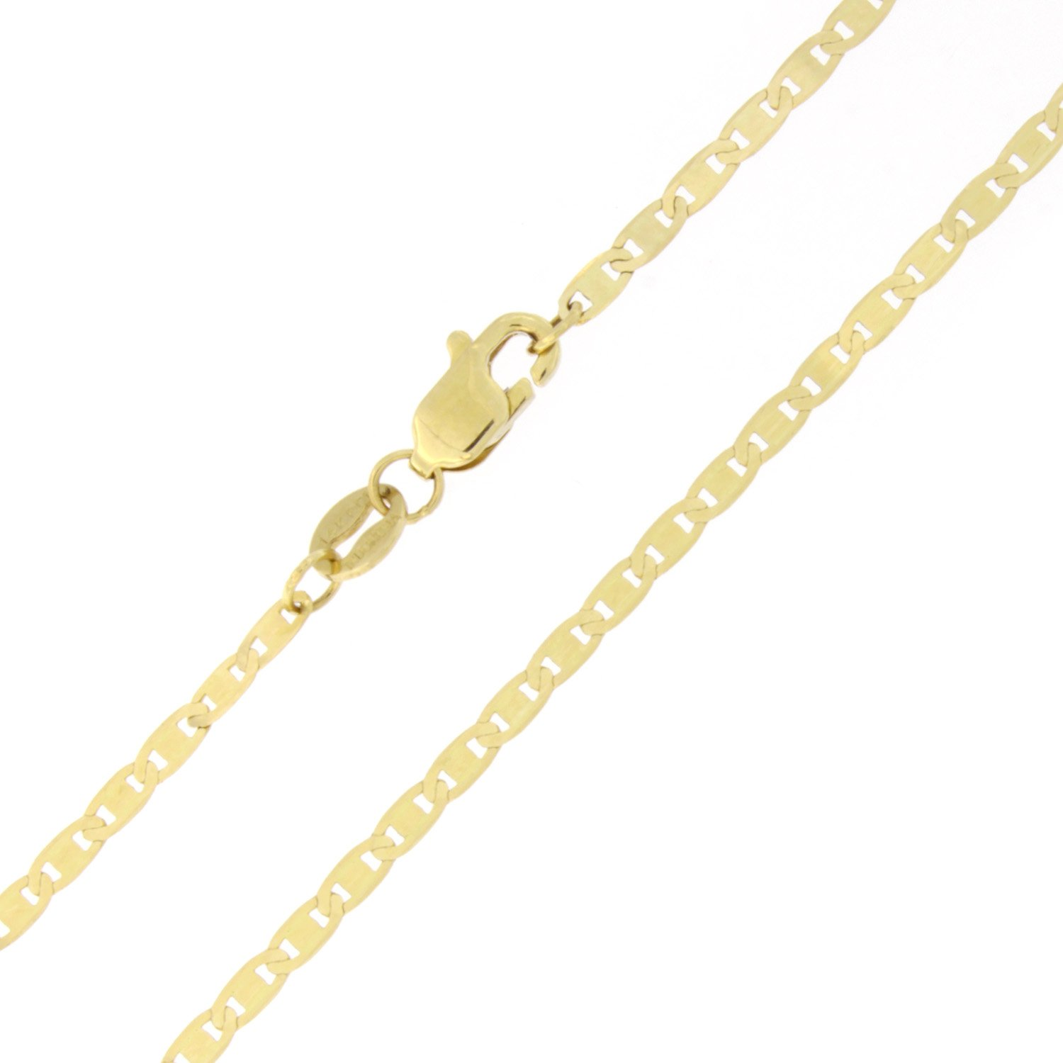 Solid 14k Yellow Gold 1.7mm Mariner Chain Anklet, 10''