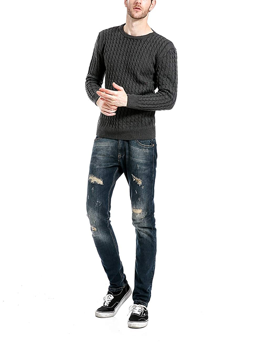 MAZORT Mens Long Sleeve Crew Neck Cable Pullover Sweater Slim Fit Knitwear