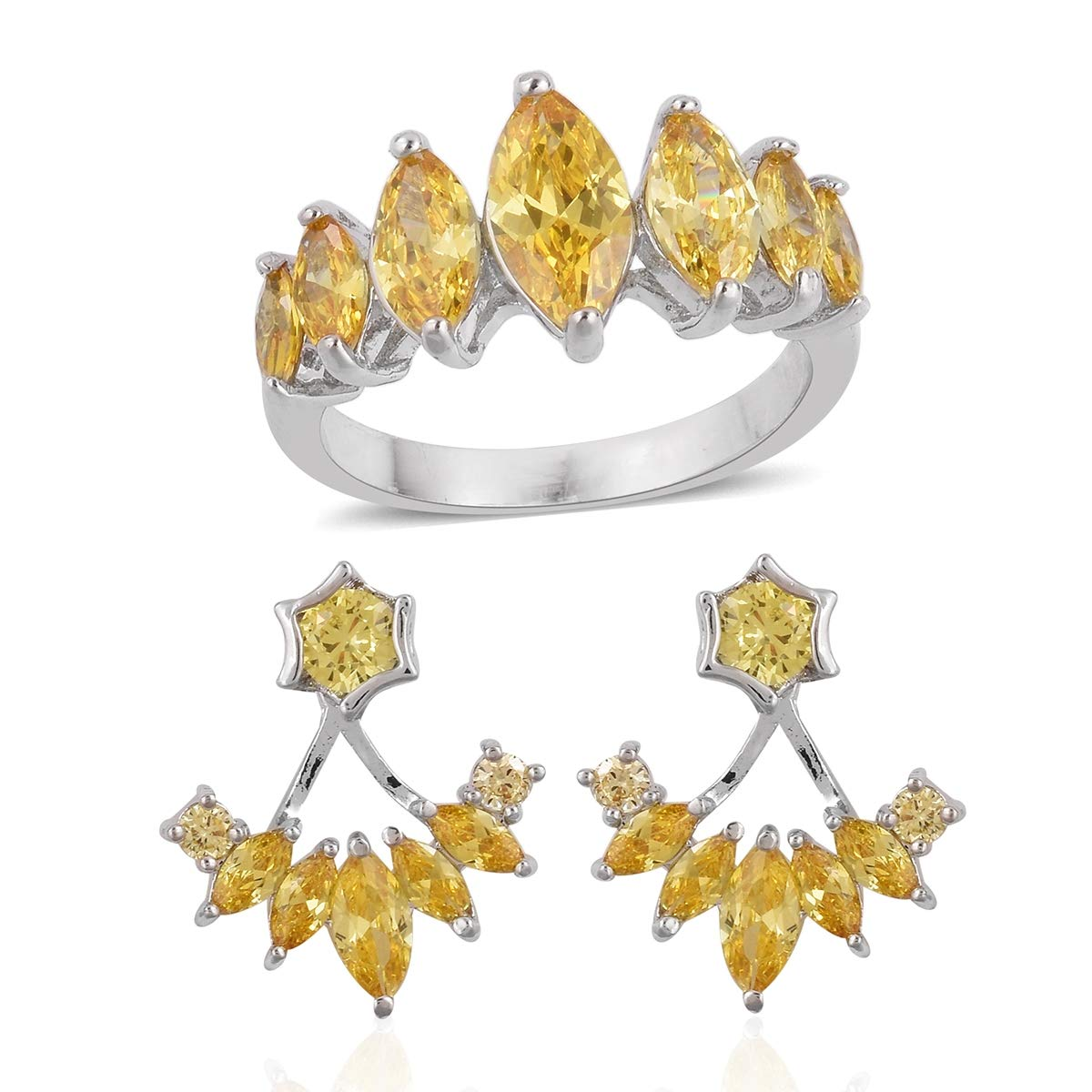 Shop LC Round Yellow Cubic Zirconia Silvertone Statement Ring Size 8 Earring Set Cttw 2.9