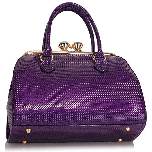 ANNA GRACE - Bolso de asas de Charol para mujer Design 2 - Purple