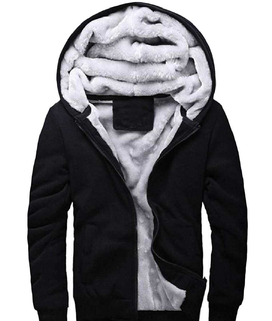 YUNY Mens Hooded Pure Colour Zip Thick Velvet Plus Size Sweatshirts Coat Black S