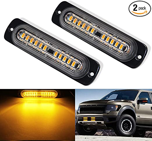 AT-HAIHAN Amber Grille Light Head 16W Bright Linear LED Mini Strobe Lightbar Surface Mount for POV Construction Vehicle and Tow Truck Van Utility Vehicle