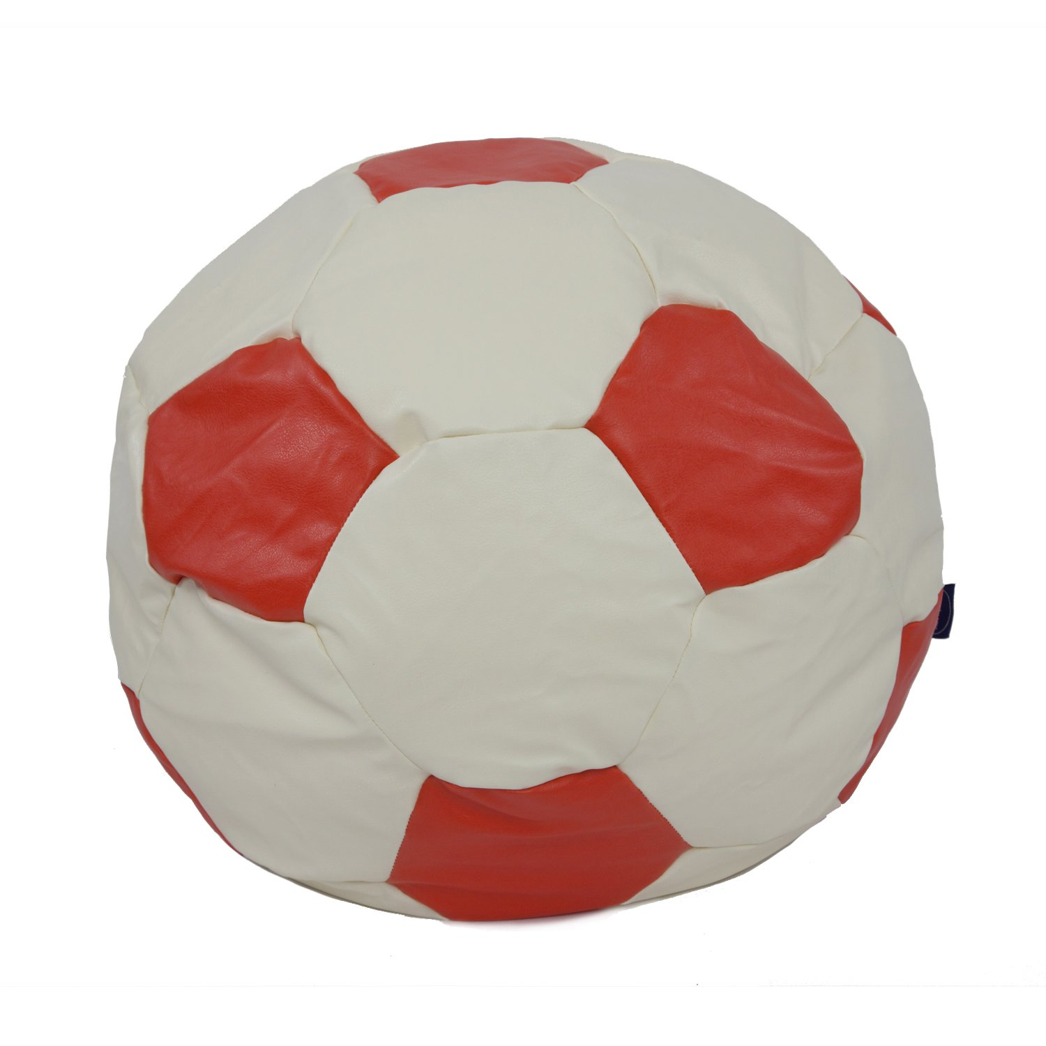 Faux Leather Football Design Bean Bag available in a choice of colour and size (Small 50 cm2, Black and Cream) Betterdreams