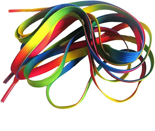 4 Pairs Bright Colors Neon Rainbow Gradient Colorful Shoestring Shoelaces