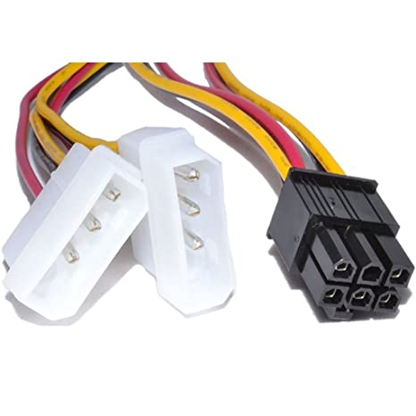 Winwill® Tarjeta gráfica PCI-E de 6 Clavijas a 2 x Cable Molex IDE ...