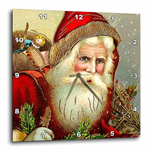 3dRose DPP_171463_3 Vintage Santa Claus with Sack Full of Toys Wall Clock, 15 by 15-Inch