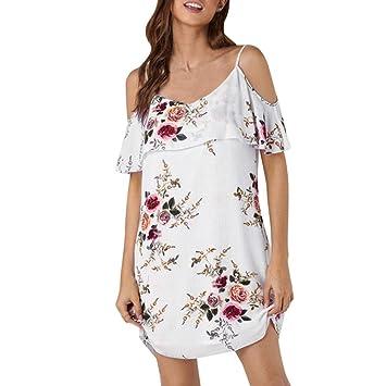 Vestido de mujer – Saihui verano estampado floral Ruffles manga corta Cold hombro playa fiesta mini