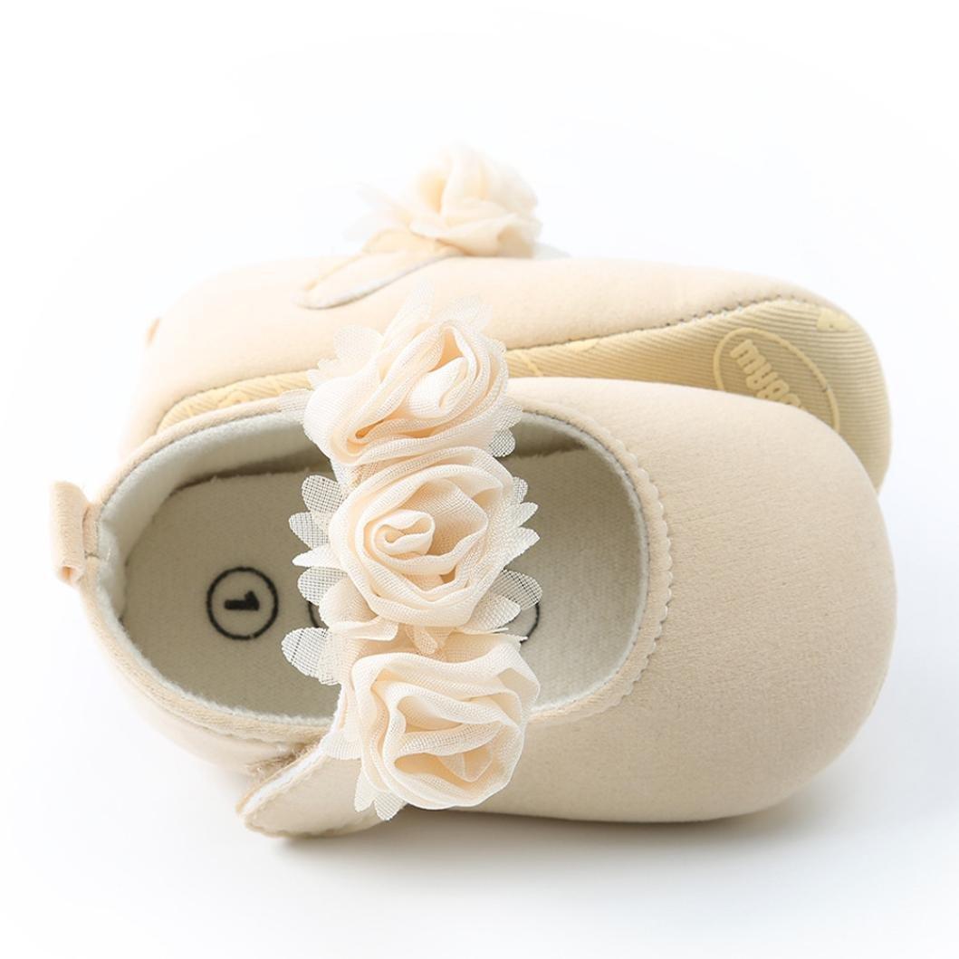 SOMESUN Scarpine Neonato Prima Infanzia Bambino Ragazza Principessa Scarpe da Ginnastica per Bambini in Morbida Cotone Leggera (0 6 Mesi, Beige)