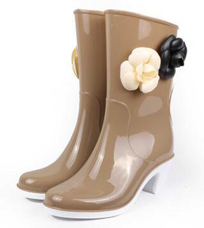 Flower Midtop Rubber Waterproof Womens Rainbootie Platforms