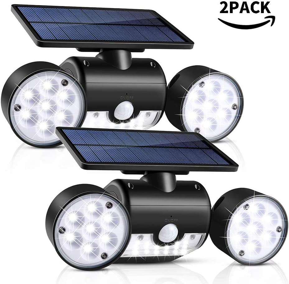 Outdoor Solar Lights, 30 LED SMD2835 Dual Head LED Solar Spotlight with IP65 Waterproof 360 Adjustable Motion Sensor Lights for Yard Garden,Garage Patio Deck, Aisle – Cool White