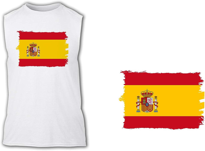 Camiseta SIN Mangas Bandera ESPAÑA Pais Unido Tshirt: Amazon ...