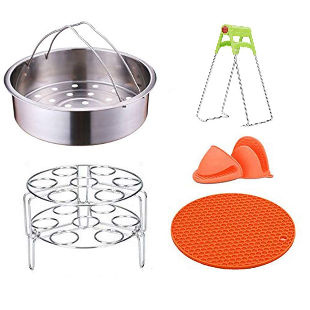 Instant Pot Accessories 6,8 QT Power Cooker Accessories Include Steam Basket Stackable Egg Steam Stand Plate Gripper Silicone Potholder Mat Mini Mitts for Instant Pot Steamer Basket