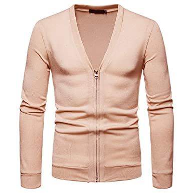 2911ff44050d2 OSYARD Pull Homme Col V Hiver Casual Tricot Pas Cher Solide Manche Longues  Mode Shirts Zip