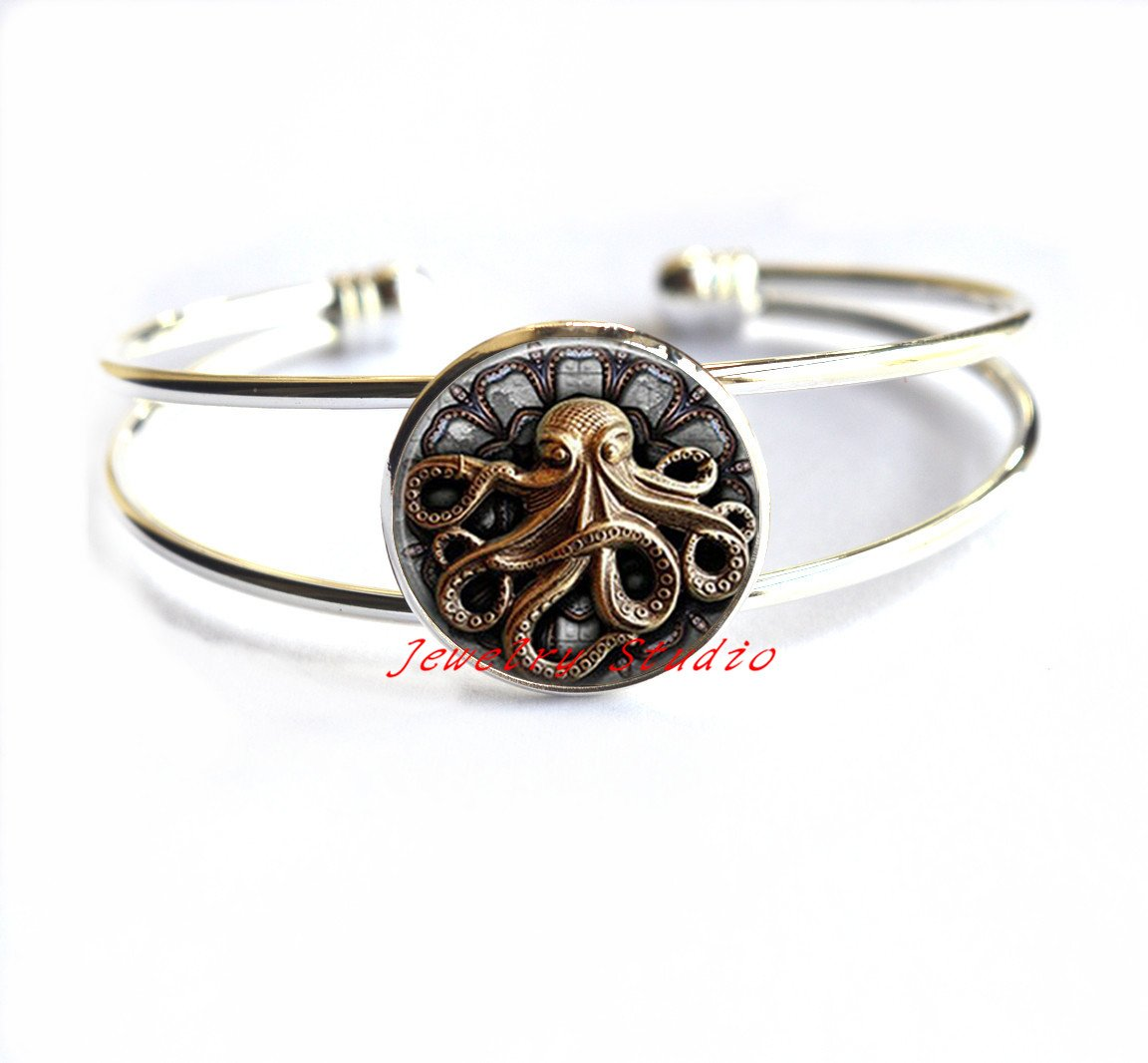Steampunk Octopus Bracelet Bracelets Octopus Goth Jewelry Best Friends Bracelets,Octopus Bracelets Octopus jewelry Octopus Bracelet Fashion style Sea life jewelry-HZ00237 3
